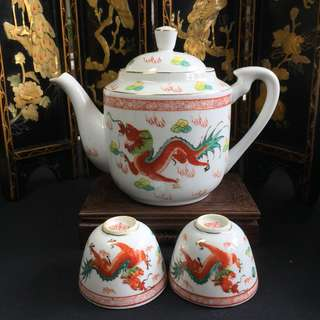 Vintage Dragon & Phoenix Tea Set