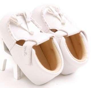 Baby Girl White Leather Tassel Soft bottom shoes