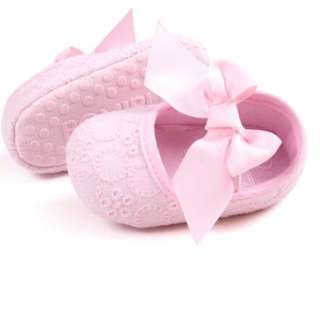 Baby Girl Pink Soft bottom bow shoes 0-6M