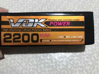 2200mAh 3s Lipo battery 45C VOK with T-plug for rc aircraft/truck/boat