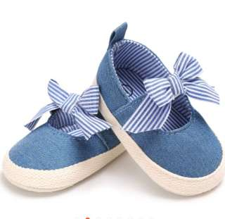 Baby Girl Blue Bow Soft bottom shoes