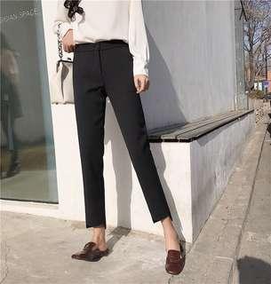 Solid Coloured Korean Style Irregular Edge Pants