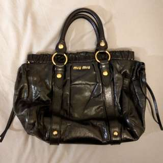 Miu Miu Vitello Lux Leather Handle Bag