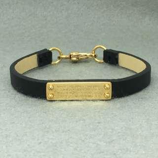 Marc Jacobs Sample Leather Bracelet 黑色配金色真皮手帶 手鏈