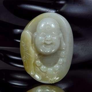 🚚 珍珠林~新品到.少有的料子~緬甸A貨翡翠帶黃皮歡喜彌勒佛玉珮~126