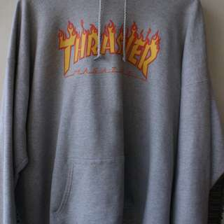 Hoodie Thrasher ori flame grey size XL ORIGINAL