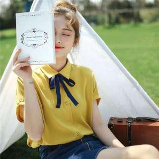 🚚 清新 甜美 帶點氣質 韓版襯衫 黃/白 兩款