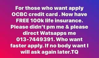 Ocbc credit card FREE 100k life I surans
