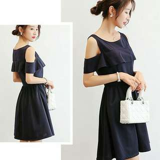 Harlene Simple Plain Dress NAVY BLUE