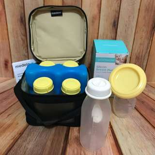 Preloved Paket Cooler Bag + Silicon Breast Pump + Weaning Bottle with Spoon