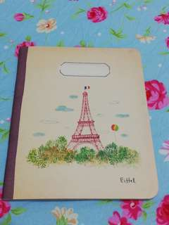 1/4 A4 size Eiffel Tower note book