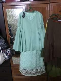 Baju Raya Hermosa Mint Lace