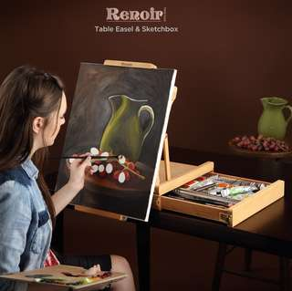 Renoir oiled beechwood table sketchbox easel for sketching and painting with metal lined storage drawers