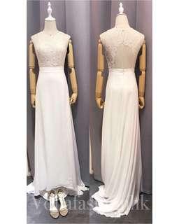 輕婚紗/pre wedding 婚紗/ 註冊婚紗-入脖蕾絲雪紡Wedding Gown