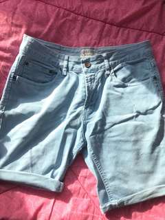 Zara Man Light Denim Shorts