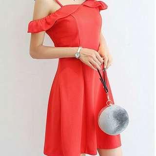 amonna Off Shoulder with Strap Dress Red