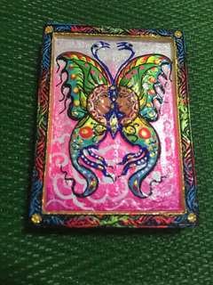 Kruba Krissana Blk A Butterfly Amulet with beautiful painting, Takrut and crushed gem, yant by Kruba