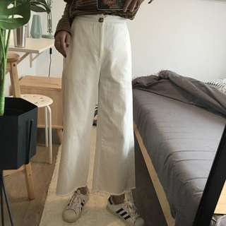 White jeans flare pants