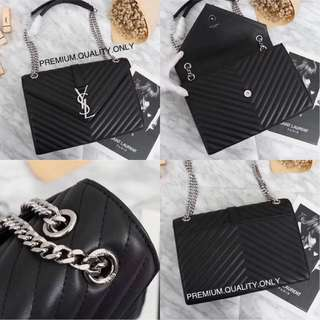 YSL Envelope Bag - black with silver hardware