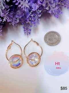 水晶短耳環