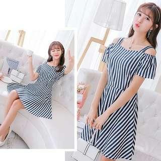Calliope Stripe Off Shoulder Dress Blue