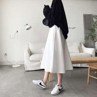 #棉麻純色半身裙