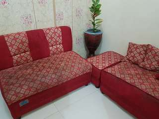 L-Shape Sofa Red