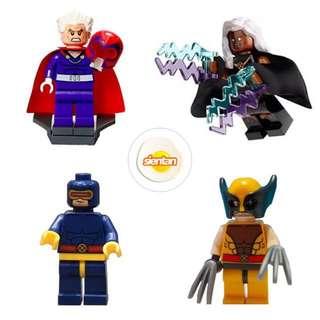 (NEW) LEGO SH116/SH117/SH118/SH119 Superheroes Minifigure Bundle - Storm / Cyclops / Wolverine / Magneto from set 76022