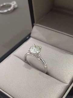 四爪鑽石戒指1.191卡+配石