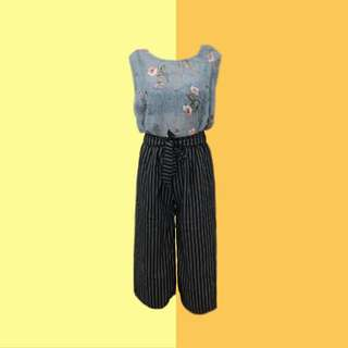 BUNDLE: 1👚1👖 ✅Blue See-Through Floral Top ✅Black Stripes Tie Pants (Brand new) ———————— Size: (Top) S-M (Bottom) Up to L Price: P300.00
