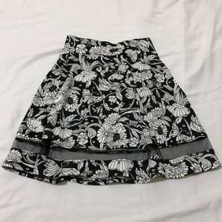 Black Floral Mesh Skirt