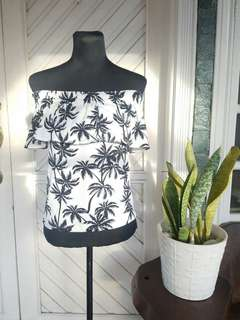 White Palm Trees Printed Off shoulder