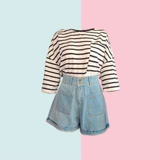 BUNDLE: 1👚1👖 ✅Black and White Stripes Laced Top (HTP Brand New) ✅HW Denim Shorts ———————— Size: (Top) Up to L (Bottom) 32-33 Price: P350.00