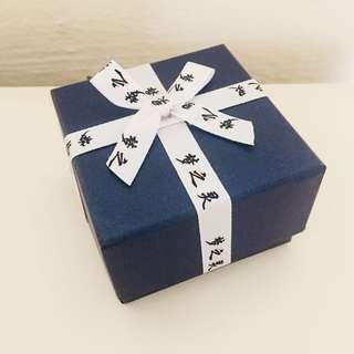Dark navy blue square jewelry gift box giftbox ribbon