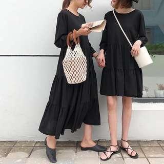 ioz 簡約黑色俏皮短袖蛋糕連衣裙 長短