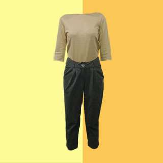 BUNDLE: 1👚1👖 ✅Light Mustard 3/4 Sleeved Top ✅Gray Grid Trousers ———————— Size: (Top) S-M (Bottom) 27-28 Price: P400.00