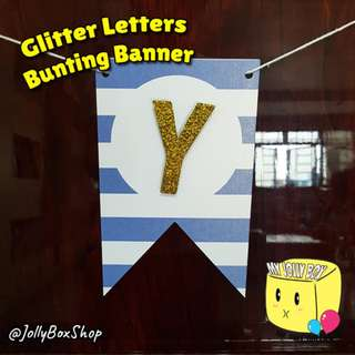 Customizable Bunting Banner For Sale - Blue Stripe with Gold Glitter Letter Theme