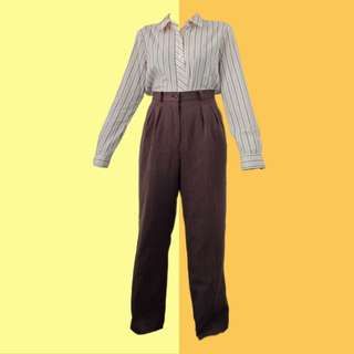 BUNDLE: 1👚1👖 ✅Brown/pink Stripes Long Sleeves ✅Brown HW Trousers ———————— Size: (Top) Up to M (Bottom) 28-29 Price: P450.00