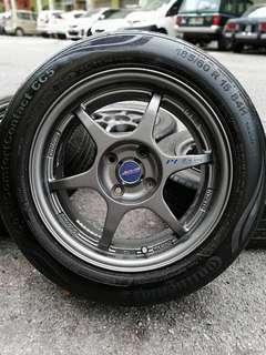P1 buddy club 15 inch sports rim alza tyre 70%. *jual mora mora jual*