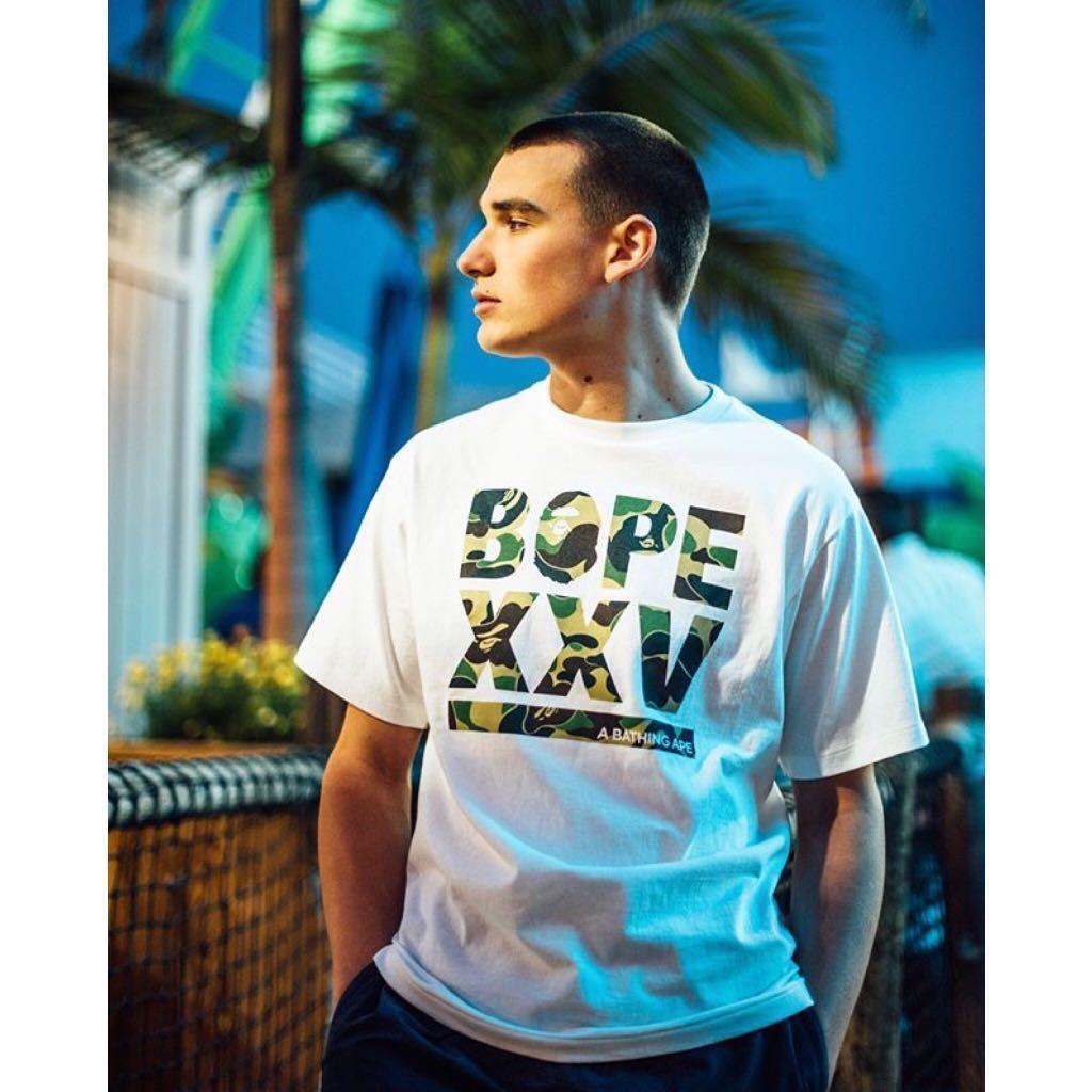 0a793a427 BAPE XXV CITIES CAMO LOGO TEE, Men's Fashion, Clothes, Tops on Carousell