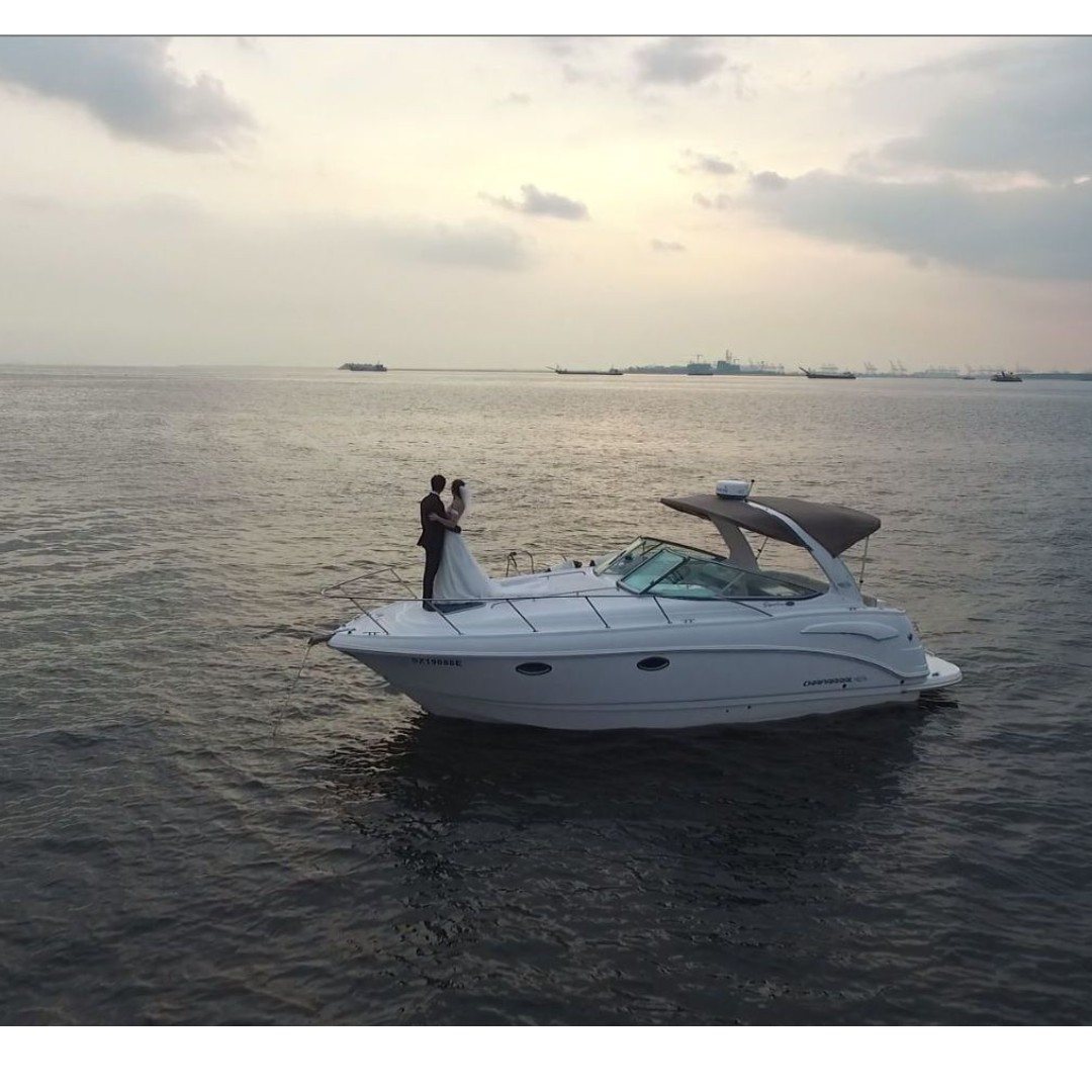 Boat wedding photography, drone aerial videography