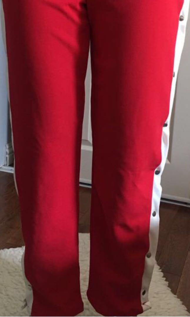 BOOHOO Red Snap Button Pants