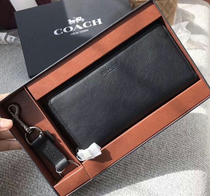 1ca593fa5ac5d greece coach black mens compact id sport wallet and trigger snap key fob set  ddfa8 317e5  usa coach men wallet gift set luxury bags wallets others on ...