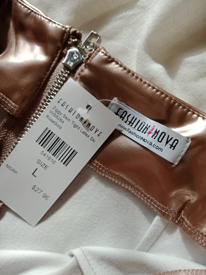 Fashion Nova skirt rose gold latex ziggy skin tight