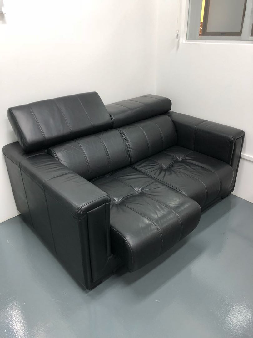 Half Leather Sofa Head Recliner And