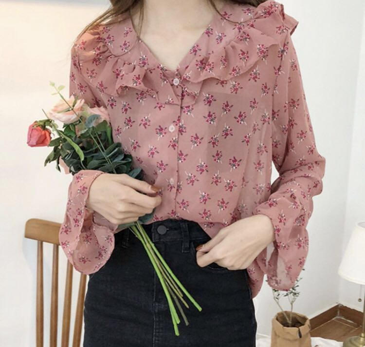 259e184655b80c Korean Ulzzang Super Pretty Indie Dusty Pink Flutter Fairy Long Sleeve  Sheer Blouse Shirt, Women's Fashion, Clothes, Tops on Carousell