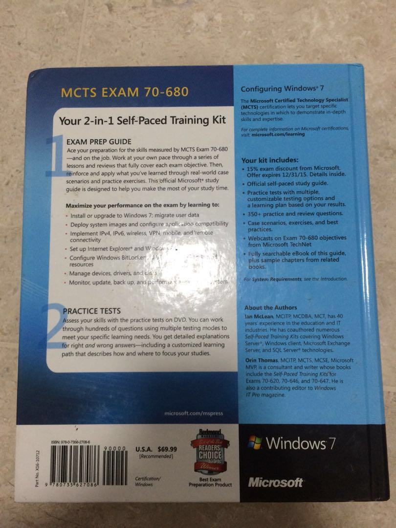 Microsoft Mcts Exam 70 680 Configuring Windows 7 Training Kit Ian