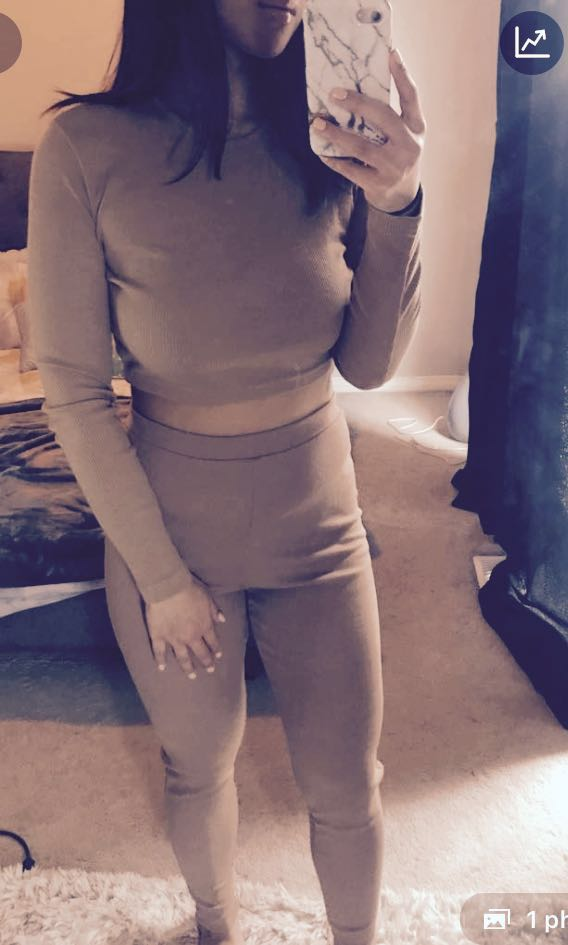 Missguided Nude two piece lounge set size 6 = s/m