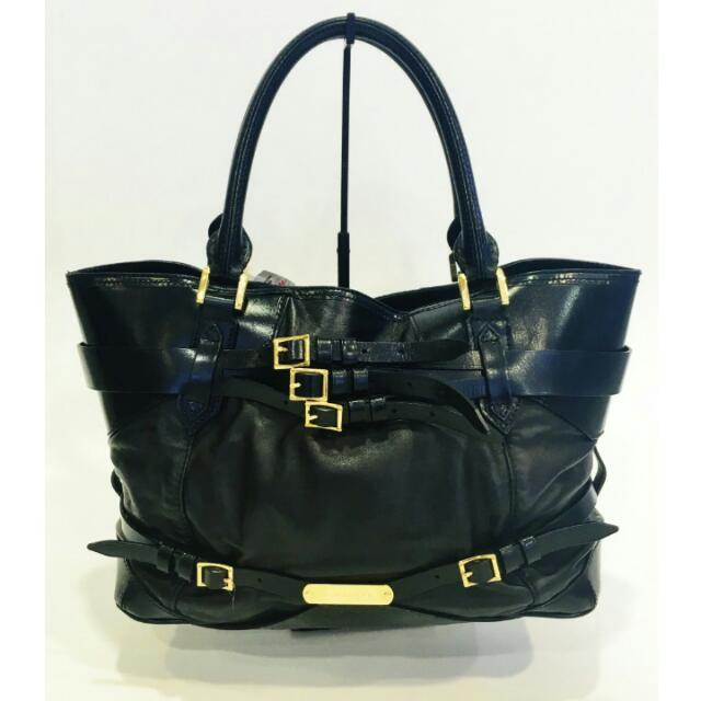 26da43d72957 New Burberry Bridle Leather Tote In Black Lambskin - AUTHENTIC ...