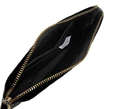 29a4d418258e6 NWOT Coach F58034 Black Signature Debossed Patent Leather Corner Zip  Wristlet